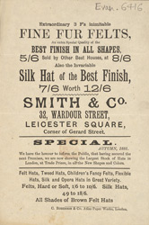 Advert for Smith & Co, milliner 6416